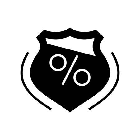 Protection sales black icon, concept illustration, glyph symbol, vector flat sign. Ilustração