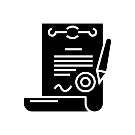 Official report black icon, concept illustration, glyph symbol, vector flat sign. Ilustração