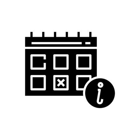 Calendar black icon, concept illustration, glyph symbol, vector flat sign. 向量圖像