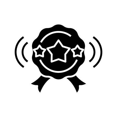 Successful sign black icon, concept illustration, glyph symbol, vector flat sign.