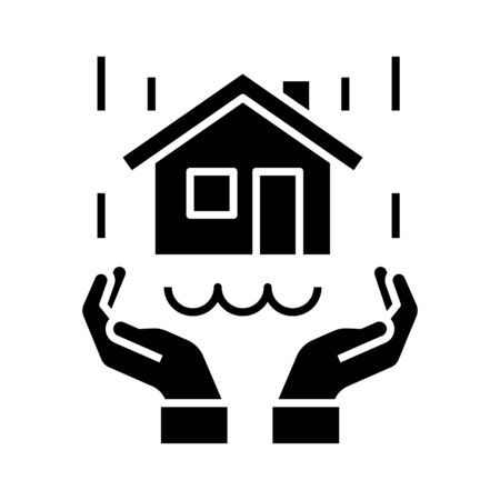 Real estate protection black icon, concept illustration, glyph symbol, vector flat sign.