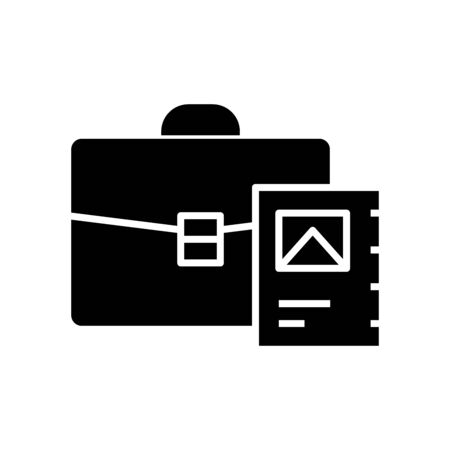 Suitcase with documents black icon, concept illustration, glyph symbol, vector flat sign. Ilustracja