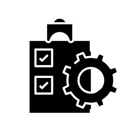 Task schedule black icon, concept illustration, vector flat symbol, glyph sign.
