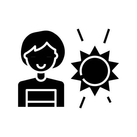 Sunlight black icon, concept illustration, glyph symbol, vector flat sign.