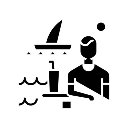 Seaside vacation black icon, concept illustration, vector flat symbol, glyph sign.