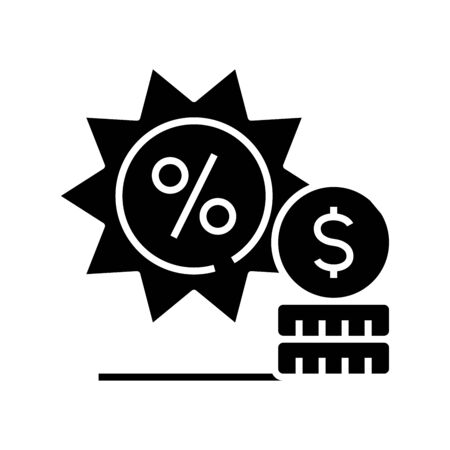 Sales black icon, concept illustration, vector flat symbol, glyph sign.