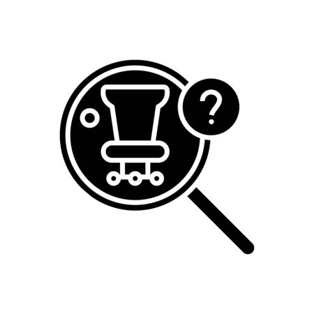 Searching chair black icon, concept illustration, vector flat symbol, glyph sign.