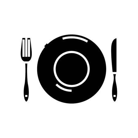 Table ware black icon, concept illustration, vector flat symbol, glyph sign. Ilustração
