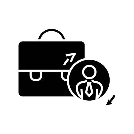 Suitcase black icon, concept illustration, glyph symbol, vector flat sign. Ilustracja