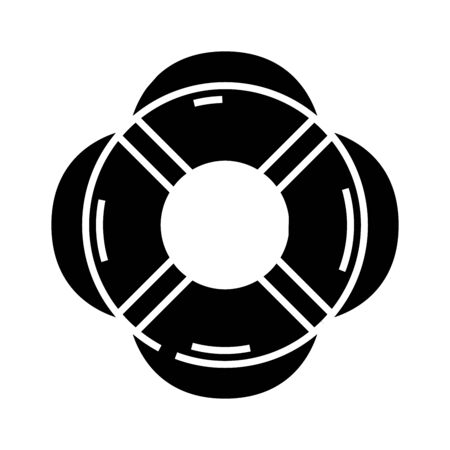 Saving equipment black icon, concept illustration, glyph symbol, vector flat sign.