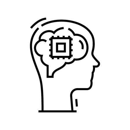 Memory abilities line icon, concept illustration, outline symbol, vector sign, linear symbol.