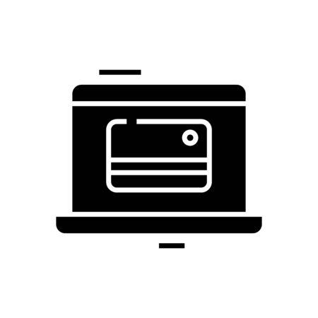 E money black icon, concept illustration, glyph symbol, vector flat sign. 写真素材 - 142149489