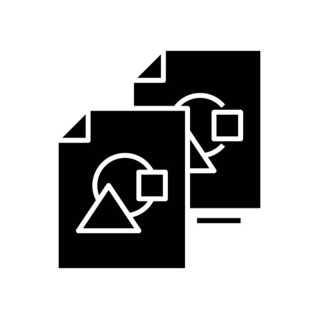 Similar files black icon, concept illustration, glyph symbol, vector flat sign.