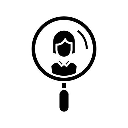 Staff worker black icon, concept illustration, vector flat symbol, glyph sign. Illustration