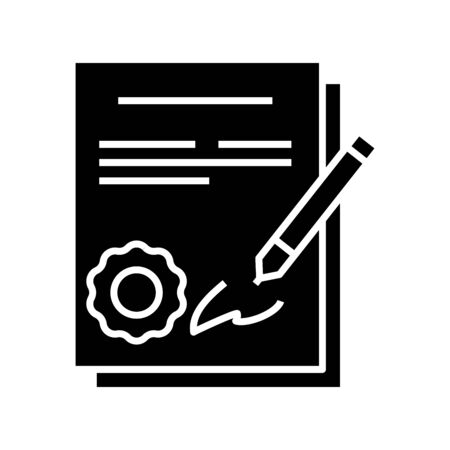 Signing a contract black icon, concept illustration, glyph symbol, vector flat sign.