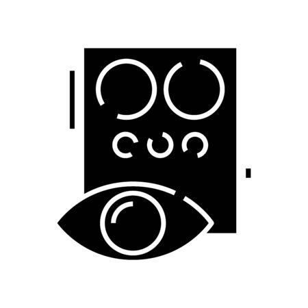 Eye checking black icon, concept illustration, vector flat symbol, glyph sign.