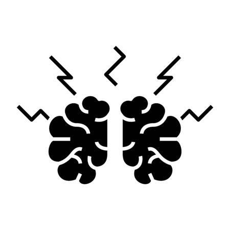 Difficult decition black icon, concept illustration, vector flat symbol, glyph sign.