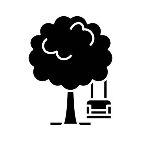 Gerden tree black icon, concept illustration, vector flat symbol, glyph sign. Ilustração