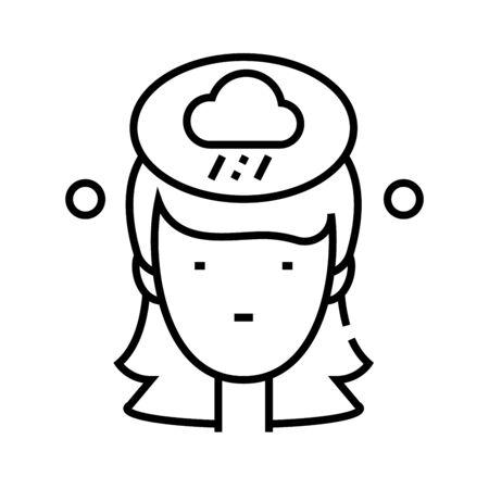 Raining line icon, concept sign, outline vector illustration, linear symbol.