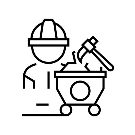 Physical labor line icon, concept sign, outline vector illustration, linear symbol.