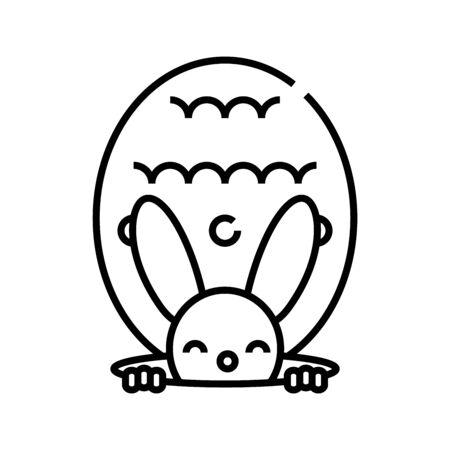 Rabbit toy line icon, concept illustration, outline symbol, vector sign, linear symbol. Archivio Fotografico - 142209014