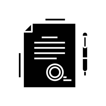 Official report black icon, concept illustration, vector flat symbol, glyph sign.