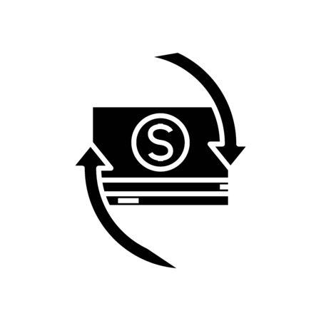 Movimg money black icon, concept illustration, glyph symbol, vector flat sign.