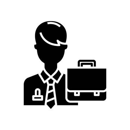 Office clerk black icon, concept illustration, vector flat symbol, glyph sign. Ilustração
