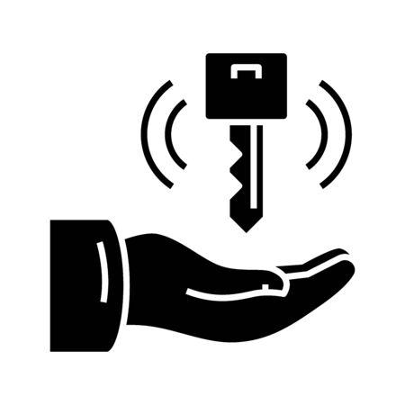 Needful key black icon, concept illustration, vector flat symbol, glyph sign.