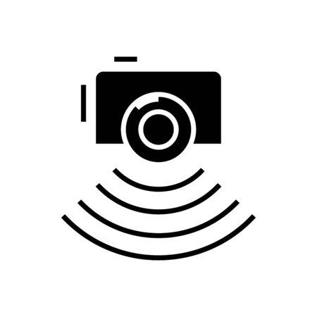 Photo report black icon, concept illustration, vector flat symbol, glyph sign.