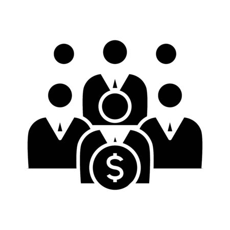 Mutual funds black icon, concept illustration, vector flat symbol, glyph sign. Illustration