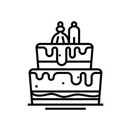 Wedding cake line icon, concept sign, outline vector illustration, linear symbol.