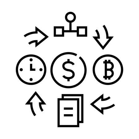 Work interaction line icon, concept sign, outline vector illustration, linear symbol. Illustration