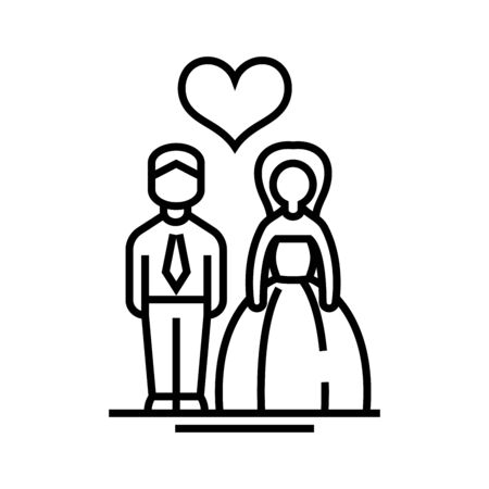 Wedding line icon, concept sign, outline vector illustration, linear symbol.