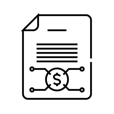 Income report line icon, concept sign, outline vector illustration, linear symbol.