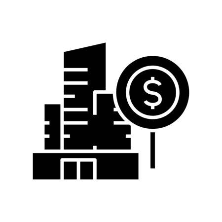 Tall building sale black icon, concept illustration, vector flat symbol, glyph sign.