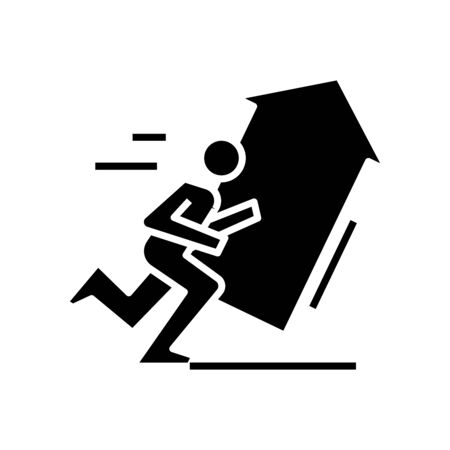 Rising potential black icon, concept illustration, vector flat symbol, glyph sign. Ilustracja