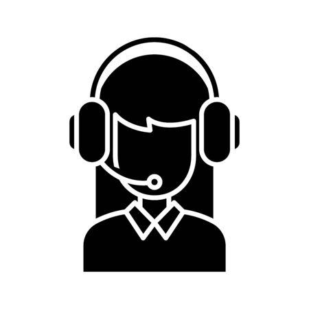 Remote assistant black icon, concept illustration, vector flat symbol, glyph sign.
