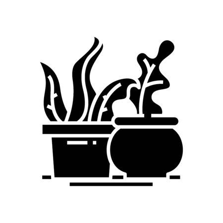 Room plants black icon, concept illustration, vector flat symbol, glyph sign.