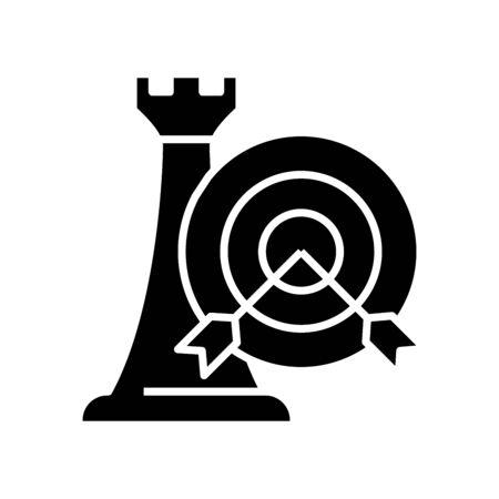 Strategic goal black icon, concept illustration, vector flat symbol, glyph sign.