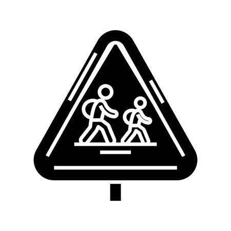 School road black icon, concept illustration, vector flat symbol, glyph sign. Stock Illustratie