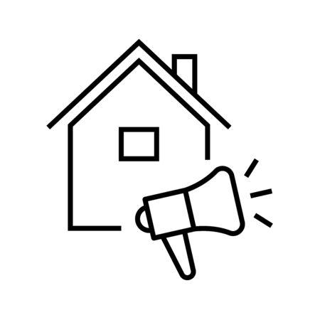 Listing for the house line icon, concept sign, outline vector illustration, linear symbol. Ilustração