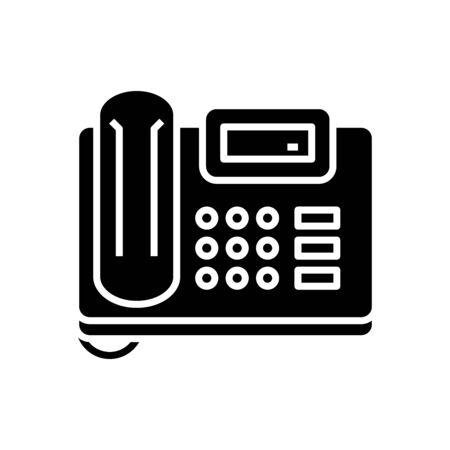 Fax device black icon, concept illustration, vector flat symbol, glyph sign.