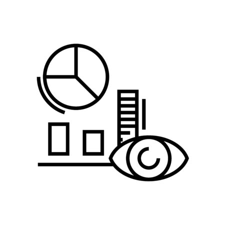 Researching diagrams line icon, concept sign, outline vector illustration, linear symbol.
