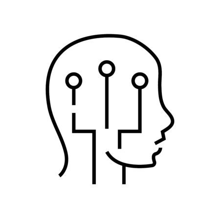 Smart chip line icon, concept sign, outline vector illustration, linear symbol.