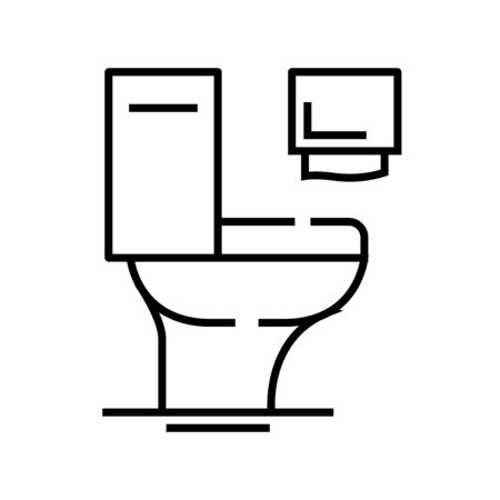 Toilet line icon, concept illustration, outline symbol, vector sign, linear symbol.
