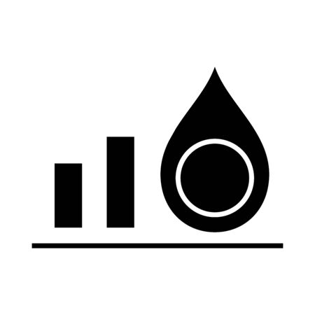 Oil price trends black icon, concept illustration, glyph symbol, vector flat sign.
