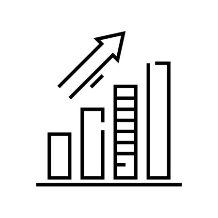 Trend chart line icon, concept illustration, outline symbol, vector sign, linear symbol. Illustration