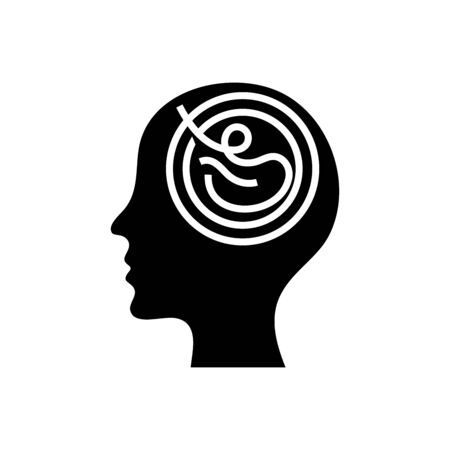 Productive mind black icon, concept illustration, glyph symbol, vector flat sign.