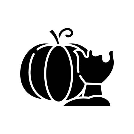 Pumpking black icon, concept illustration, glyph symbol, vector flat sign.